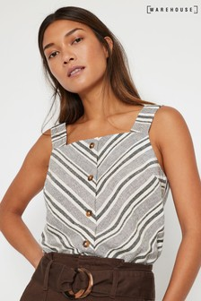 Warehouse Natural Stripe Square Neck Cami Top