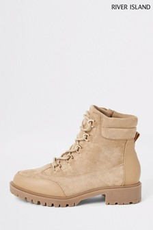 River Island Beige Light Skyla Lace-Up Hiker Boots