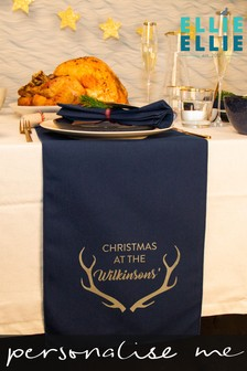 Personalised 'Christmas At' Antlers Table Runner by Ellie Ellie