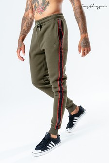 Hype. Mens Khaki Sports Tape Joggers