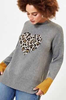 Oasis Grey Halle Animal Heart Jumper
