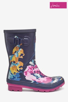 Joules Blue Floral Molly Mid Height Printed Welly