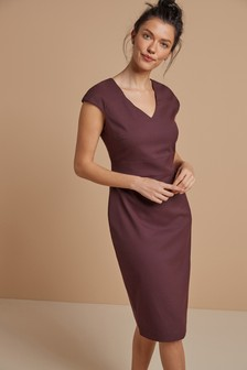 Tailored Short Sleeve V-Neck Dress