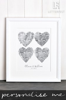 Personalised Couples Print With White Frame By Letterfest