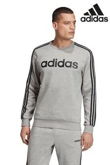 adidas Essentials Grey 3 Stripe Fleece Crew Sweater