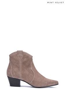 Mint Velvet Clara Taupe Cowboy Boots