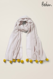 Boden灰色圓球羊毛圍巾