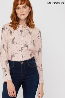 Monsoon Pink Leonard Leopard Print Shirt