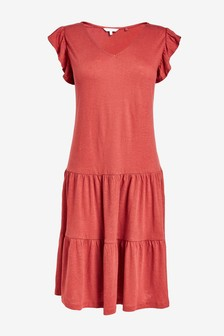 V-Neck Frill Sleeve Dress