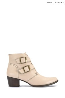 Mint Velvet Callie Chalk Buckle Ankle Boots