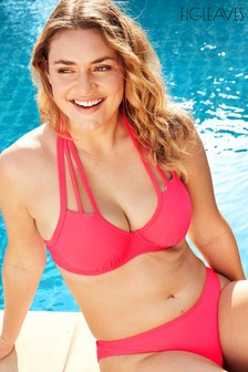 Figleaves Pink Rene Underwired Strapping Non Padded Bikini Top