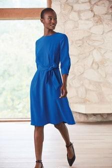 Crepe Belted Dress