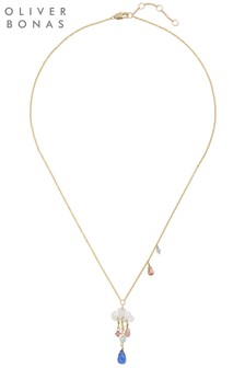 Oliver Bonas Cloud & Raindrop Charm Necklace