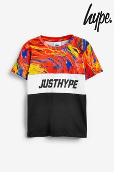 Hype. Red Flame Marble Panelled T-Shirt