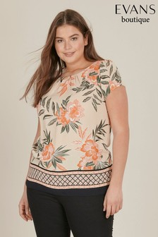 Evans Beige Curve Print Shell Top