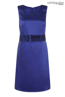 HotSquash Blue Sequin Waistband Silky Shift Dress