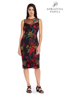 Adrianna Papell Black Dancing Garden Sheath Dress