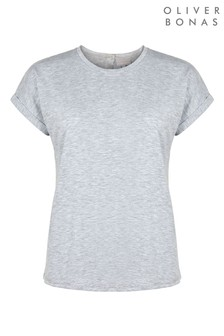 Oliver Bonas Grey Popper Back Marl T-Shirt
