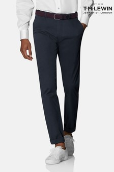 T.M. Lewin Radcliffe Navy Italian Cotton Stretch Chinos