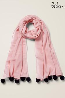Różowy wełniany szalik z pomponami Boden