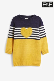 F&F Mustard Knitted Heart Dress