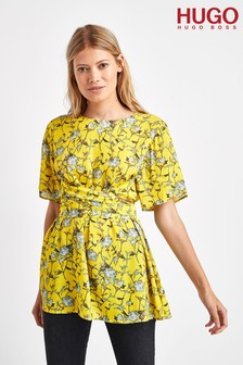 HUGO Yellow Casima Waisteline Belt Blouse