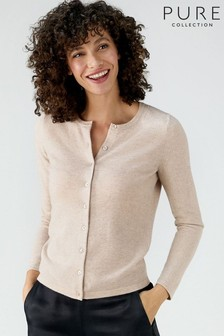 Pure Collection Natural Cashmere Crew Neck Cardigan