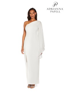 Adrianna Papell White One Shoulder Gown