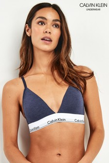 Calvin Klein Blue Modern Cotton Unlined Triangle Bra