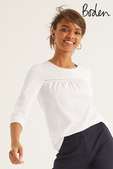 Boden White Julia Jersey Top