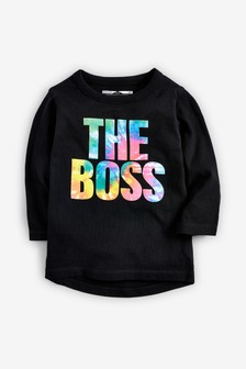 Long Sleeve The Boss Tie Dye T Shirt (3mths-7yrs)