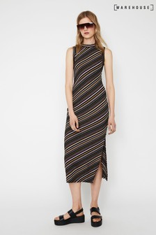 Warehouse Black Diagonal Stripe Rib Midi Dress