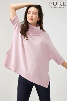 Pure Collection - Poncho oversize rosa con cachemire