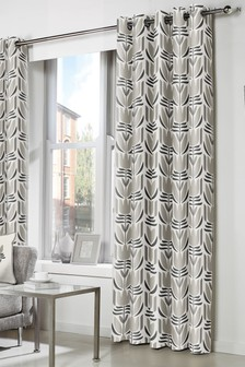 Haldon Floral Geo Lined Eyelet Curtains by Fusion