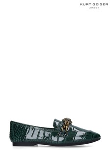Kurt Geiger Ladies Green Croc Print Chelsea Loafers