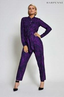 Harpenne Purple Animal Print Military Jumpsuit