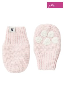 Joules Purple Paws Pawprint Knitted Mittens