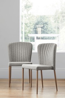Set Of 2 Blake Dining Chairs Wood Effect Legs