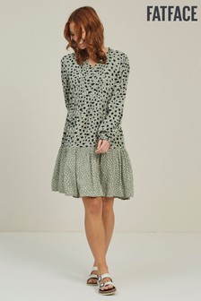 FatFace Green Maye Double Spot Dress