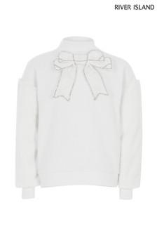 River Island Cream Luxe Fur Sleeve Sweater
