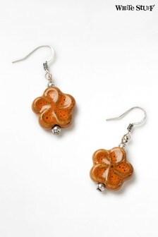 White Stuff Orange Flower Ceramic Drop Earrings