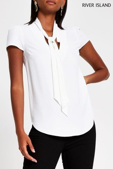 River Island Ivory Pearl Pussybow Top