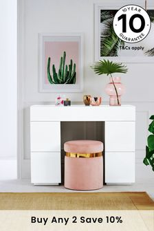 Sloane White Slim Storage Dressing Table / Desk