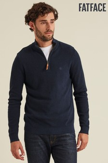 Fatface Blue Cotton Cashmere Stitch Half Jumper