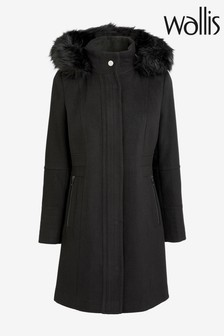 Wallis Black Duffle Faux Fur Coat