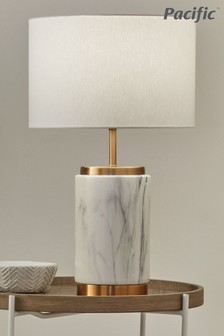 Carrara Marble Effect Ceramic Table Lamp by Pacific Lighting