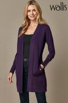 Wallis Purple Wool Longline Cardigan