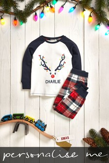 Personalised Younger Kids Deer Christmas Pyjamas