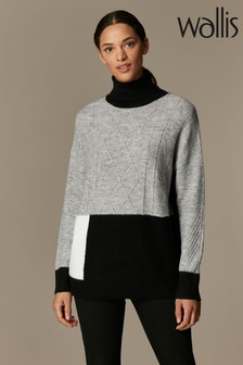 Wallis Grey Cable Patchwork Compact Jumper