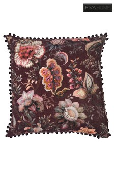 Oolong Floral Pom Pom Cushion by Riva Home